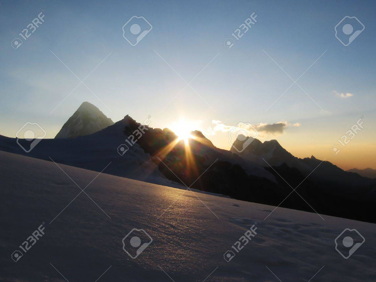 Sunset in the base camp Alpamayo Stock Photo - 559465