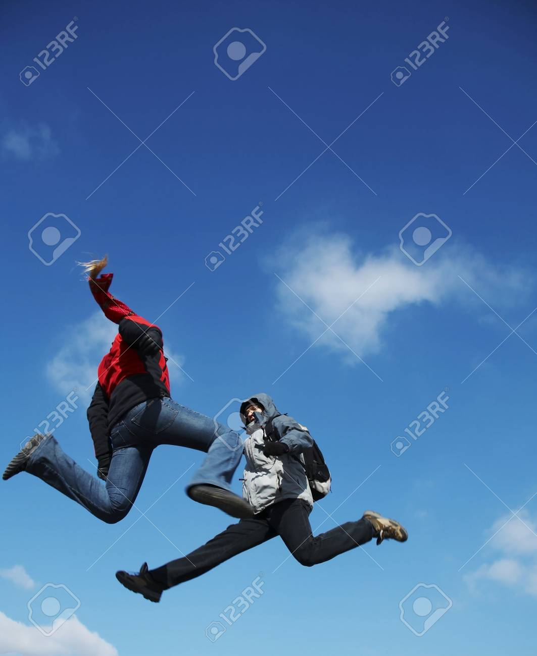 Two jumping teens Stock Photo - 800611