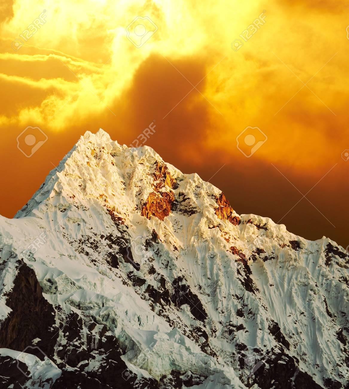 Beautiful peak Alpamayo on sunset Stock Photo - 840926