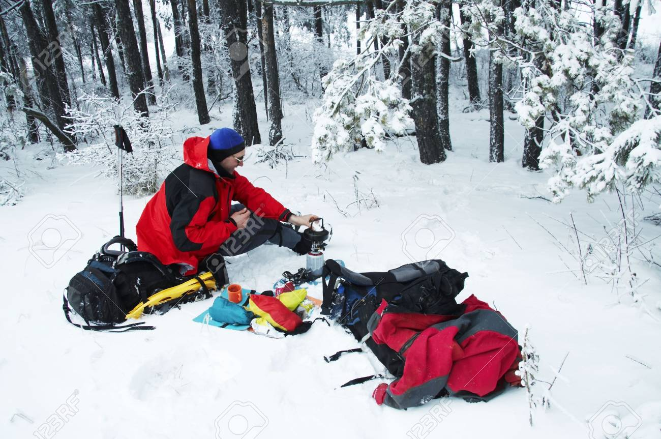 Climber in snowy forest Stock Photo - 2143102
