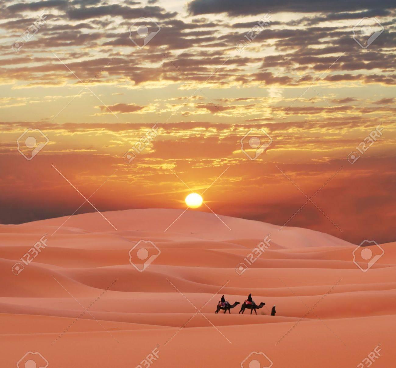 Caravan in Sahara desert Stock Photo - 2507658