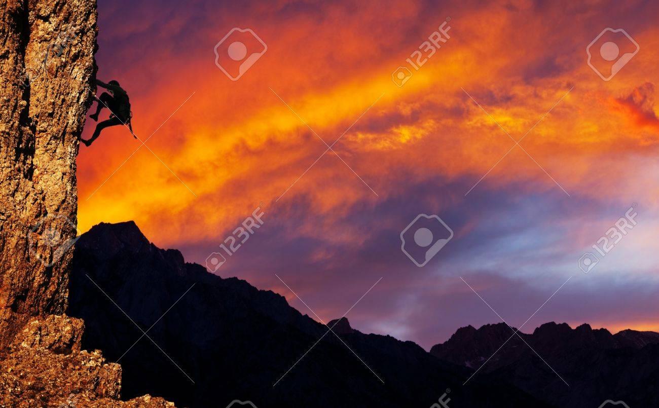 climber on sunset background Stock Photo - 11164696