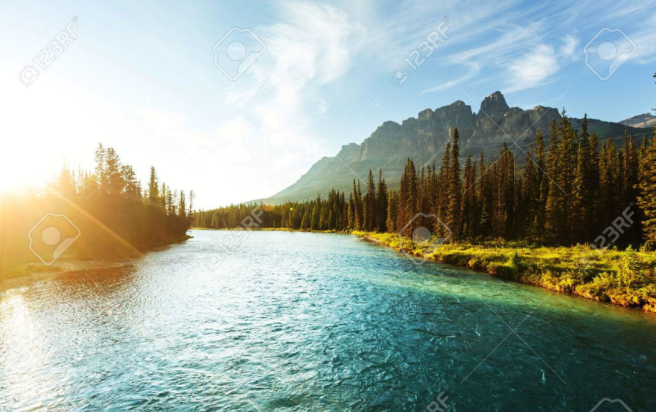 Castle Mountain in Banff National Park, Canada. - 43989705