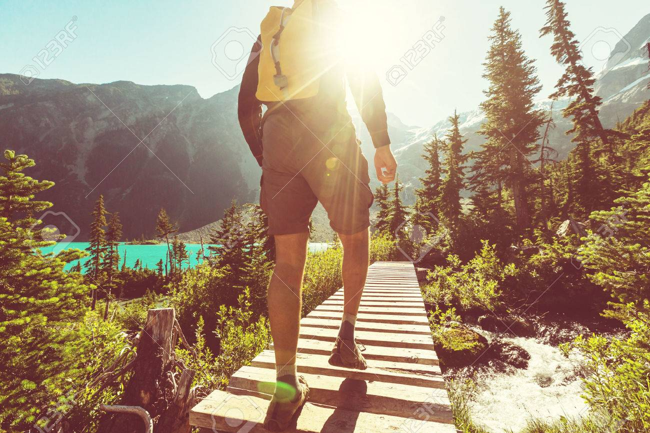 Hiking man in the mountains Stock Photo - 44788486