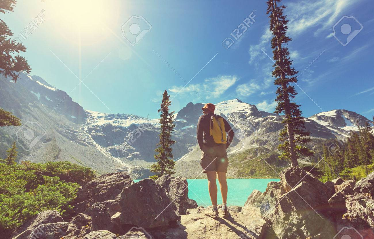 Hiking man in the mountains Stock Photo - 48335882