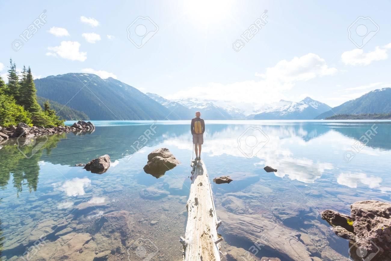 Hike on Garibaldi Lake near Whistler, BC, Canada. Stock Photo - 62645870