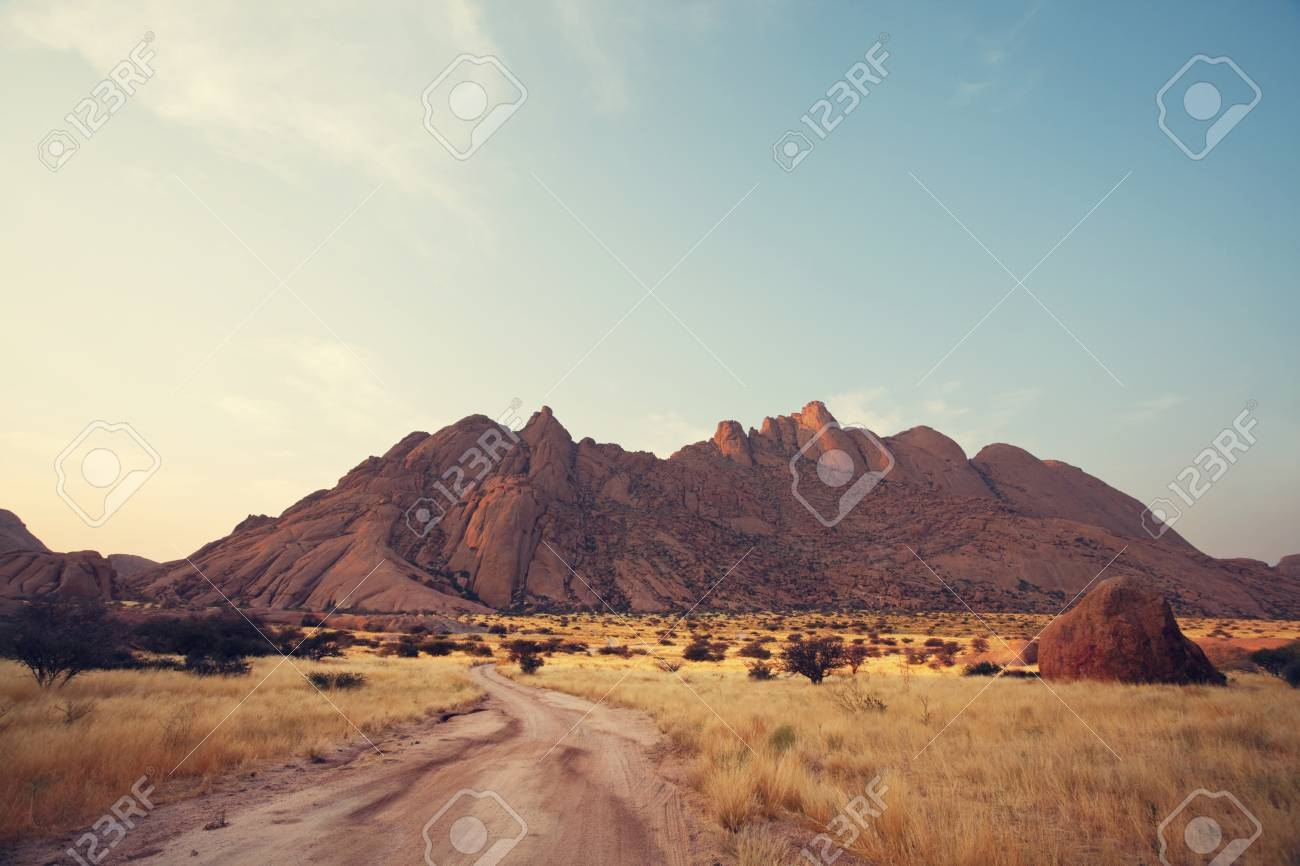 colorful landscapes of the orange rocks in the spitscoppe mountains