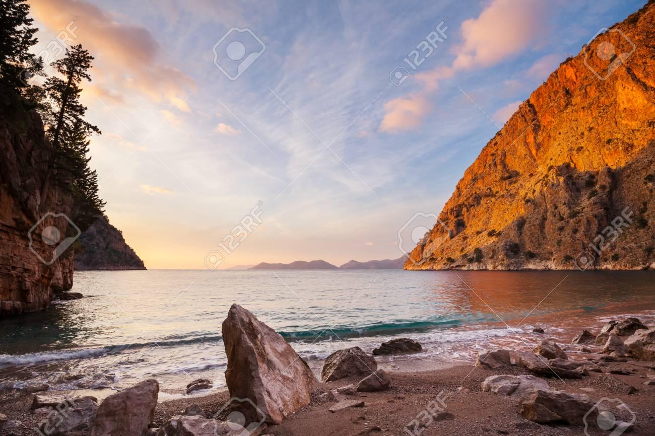 Beautiful sea coast ay sunset in Turkey - 113965872