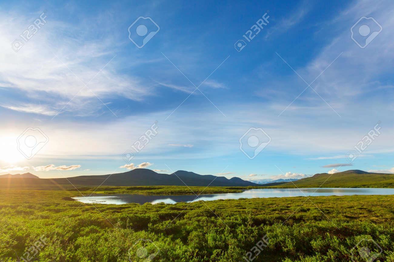 Serenity lake in Alaskan tundra. - 168357431