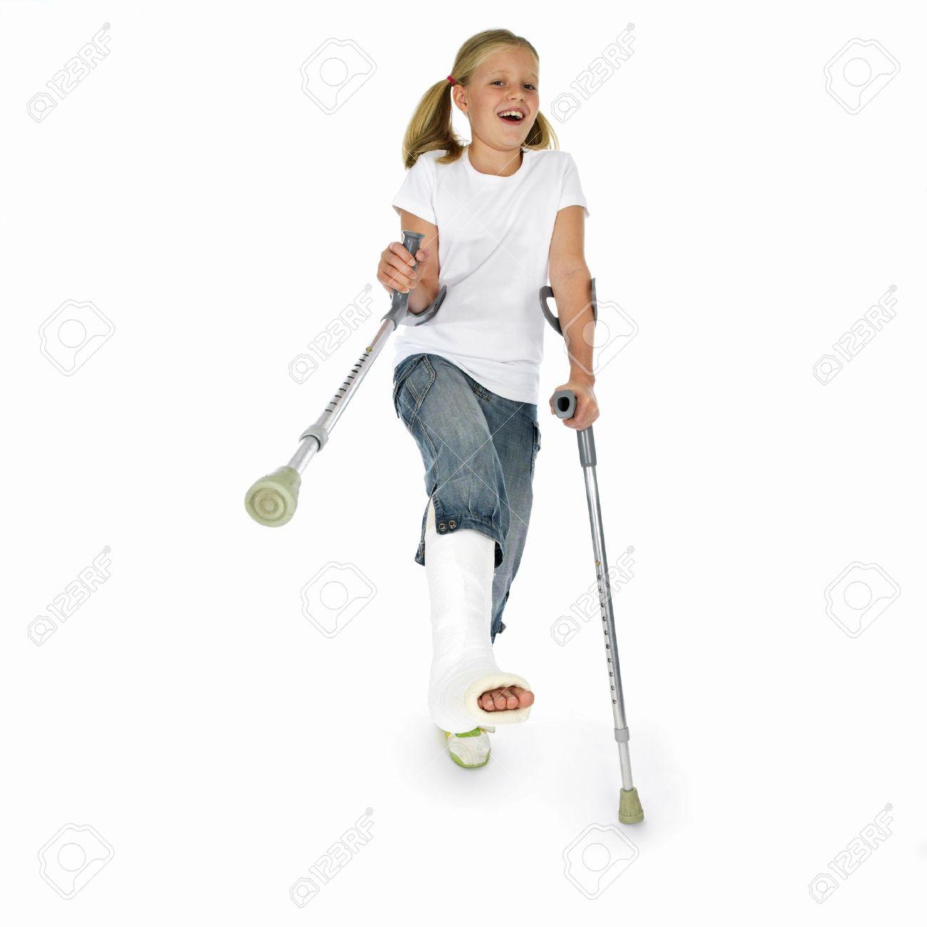 girl with a broken leg Stock Photo - 667572