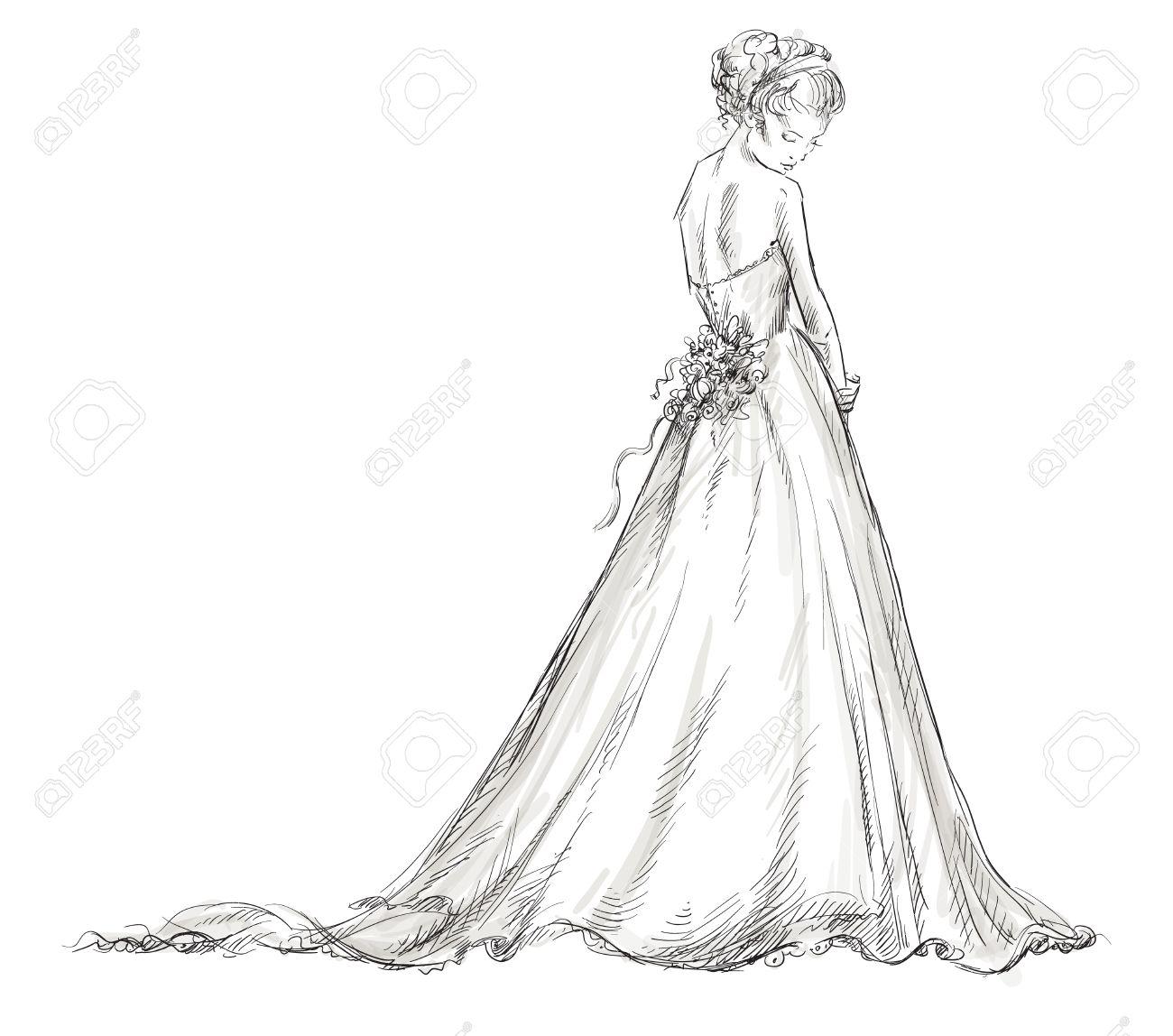 Eps 10 ベクトル イラストのウェディング ドレスの花嫁美しい少女の
