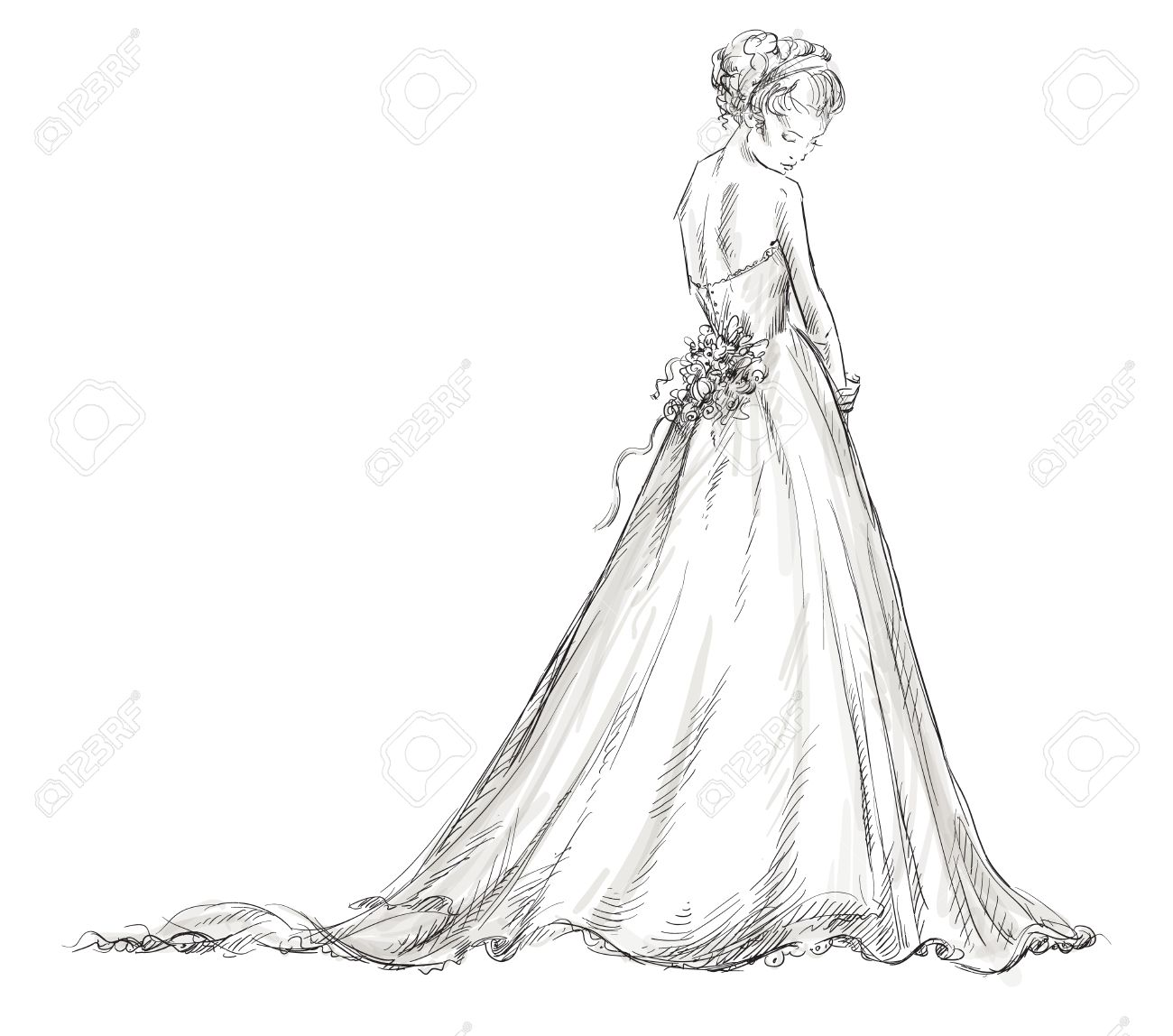 Bride Beautiful young girl in a wedding dress EPS 10 vector illustration - 24196465