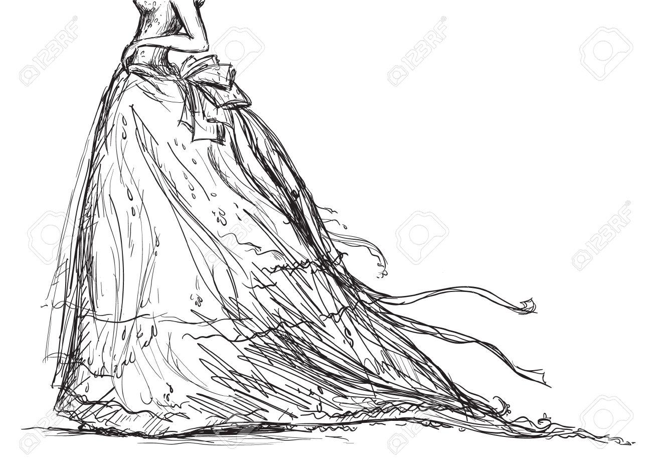White dress drawing - Wedding Dress Bridal Dress Drawing