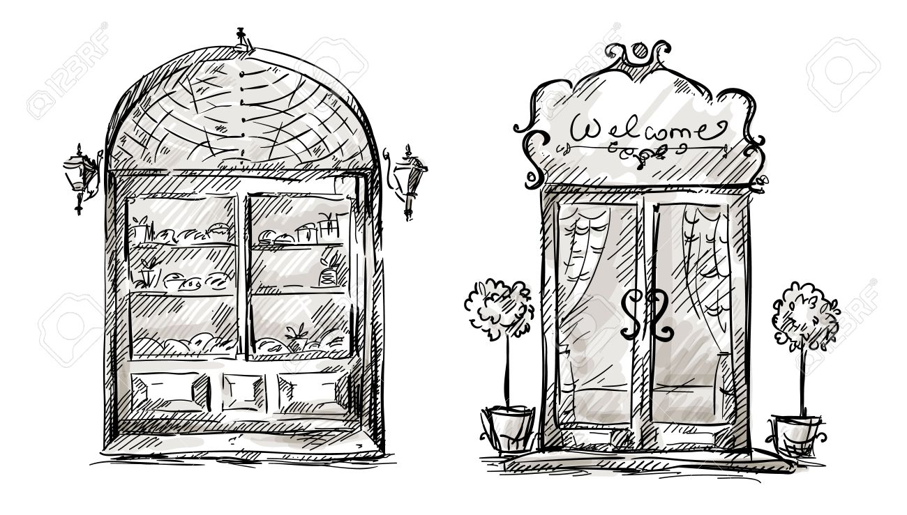 Shop-window and entrance door drawing retro style Stock Vector - 24355630  sc 1 st  123RF Stock Photos & Shop-window And Entrance Door Drawing Retro Style Royalty Free ... pezcame.com