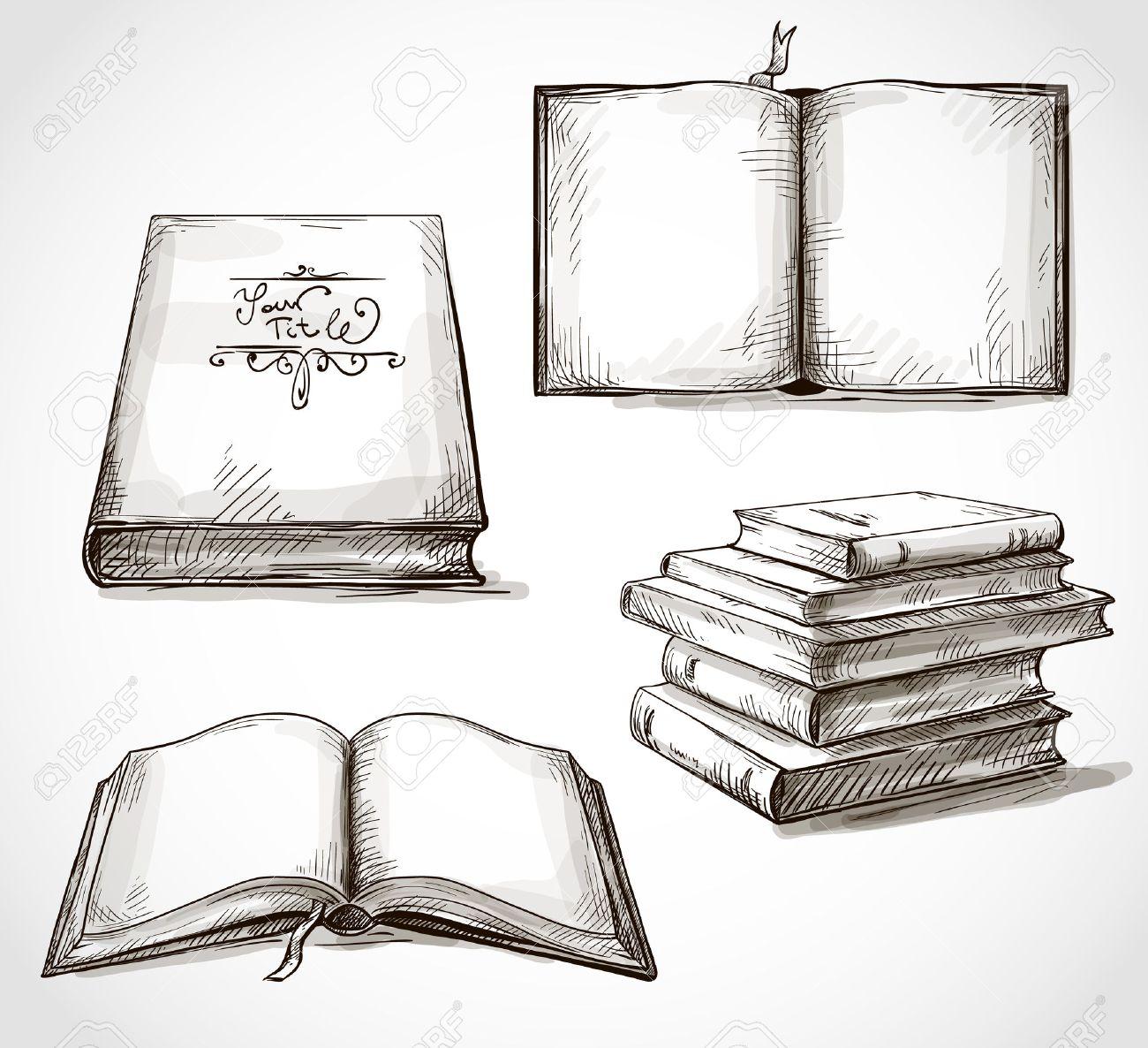 Bücherstapel gezeichnet  Reihe Von Alten Zeichnungen Bücher Stapel Bücher Offenes Buch ...