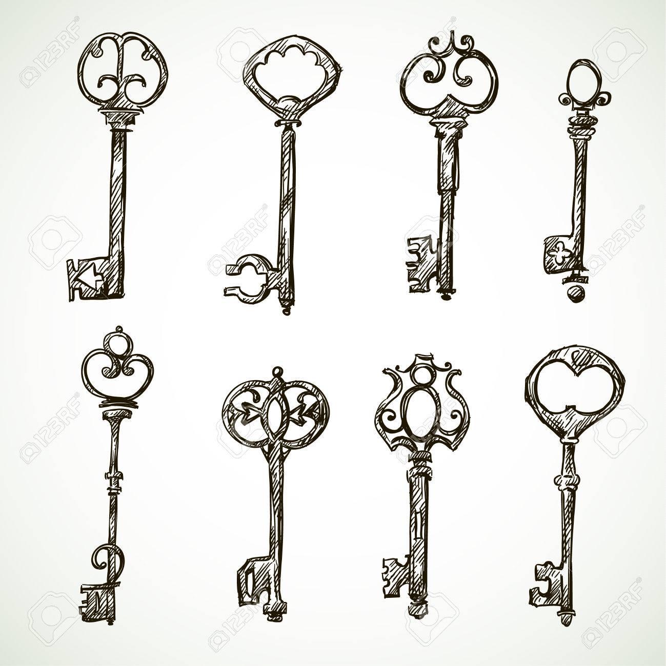 Set of vintage keys drawings doodle style