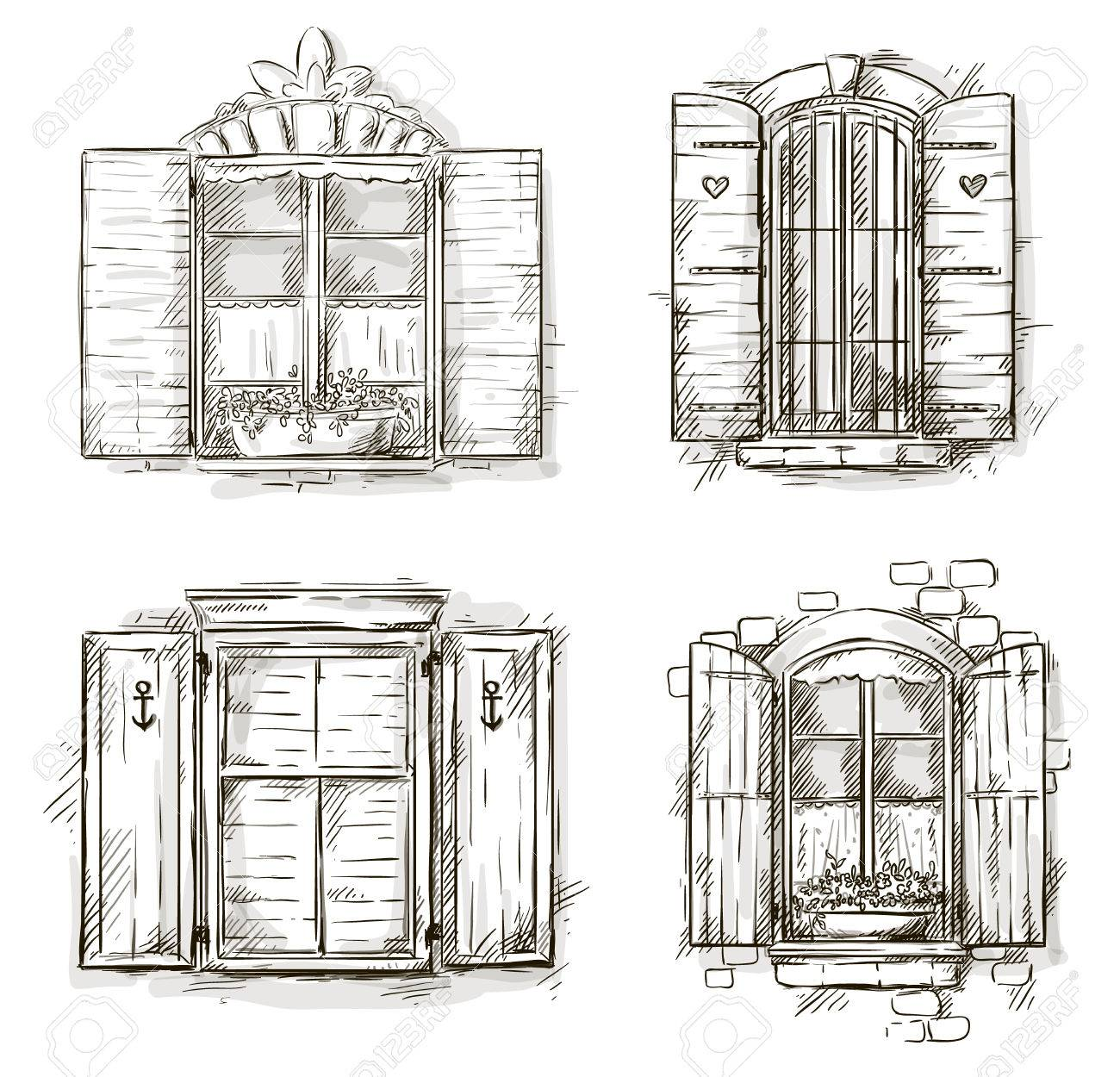 Vintage Window Set Royalty Free Cliparts Vectors And Stock