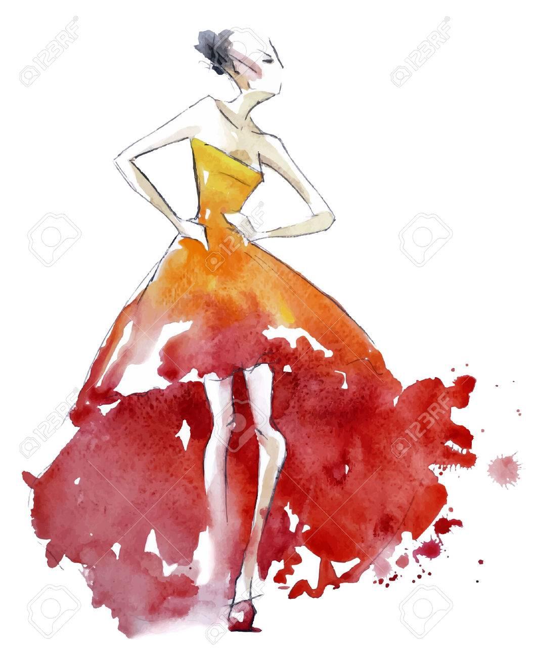 Red dress fashion illustration, vector EPS 10 - 29904153