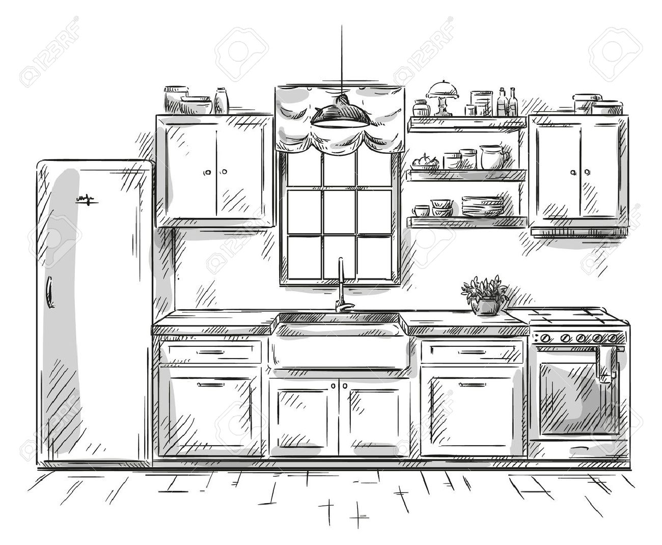 Kitchen Interior Drawing Vector Illustration Royalty Free Cliparts