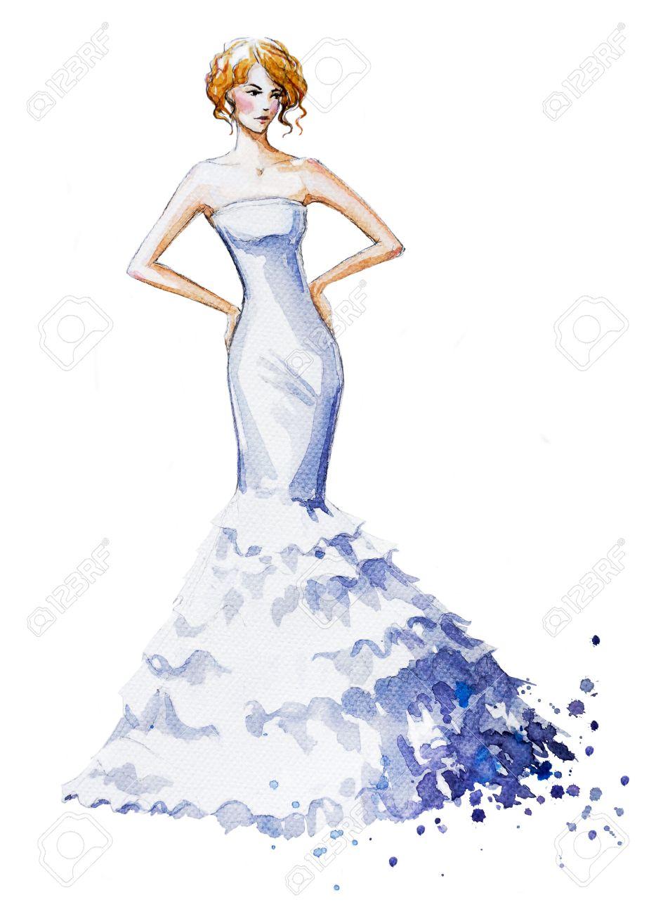 水彩ファッションイラスト長いドレスを着た美しい少女結婚式ドレス
