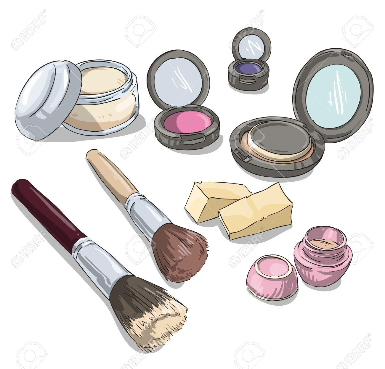 produits de maquillage dessin. Fashion illustration. Banque dimages , 33240360