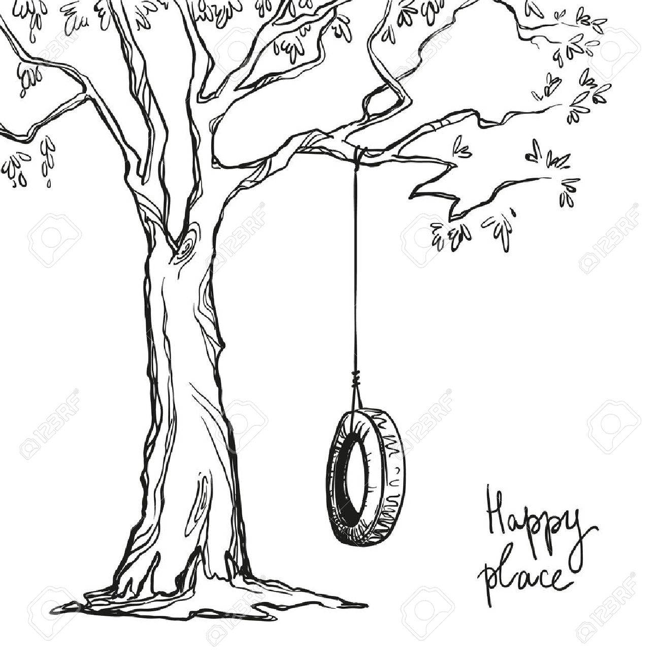 tree with a tyre swing vector illustration royalty free cliparts