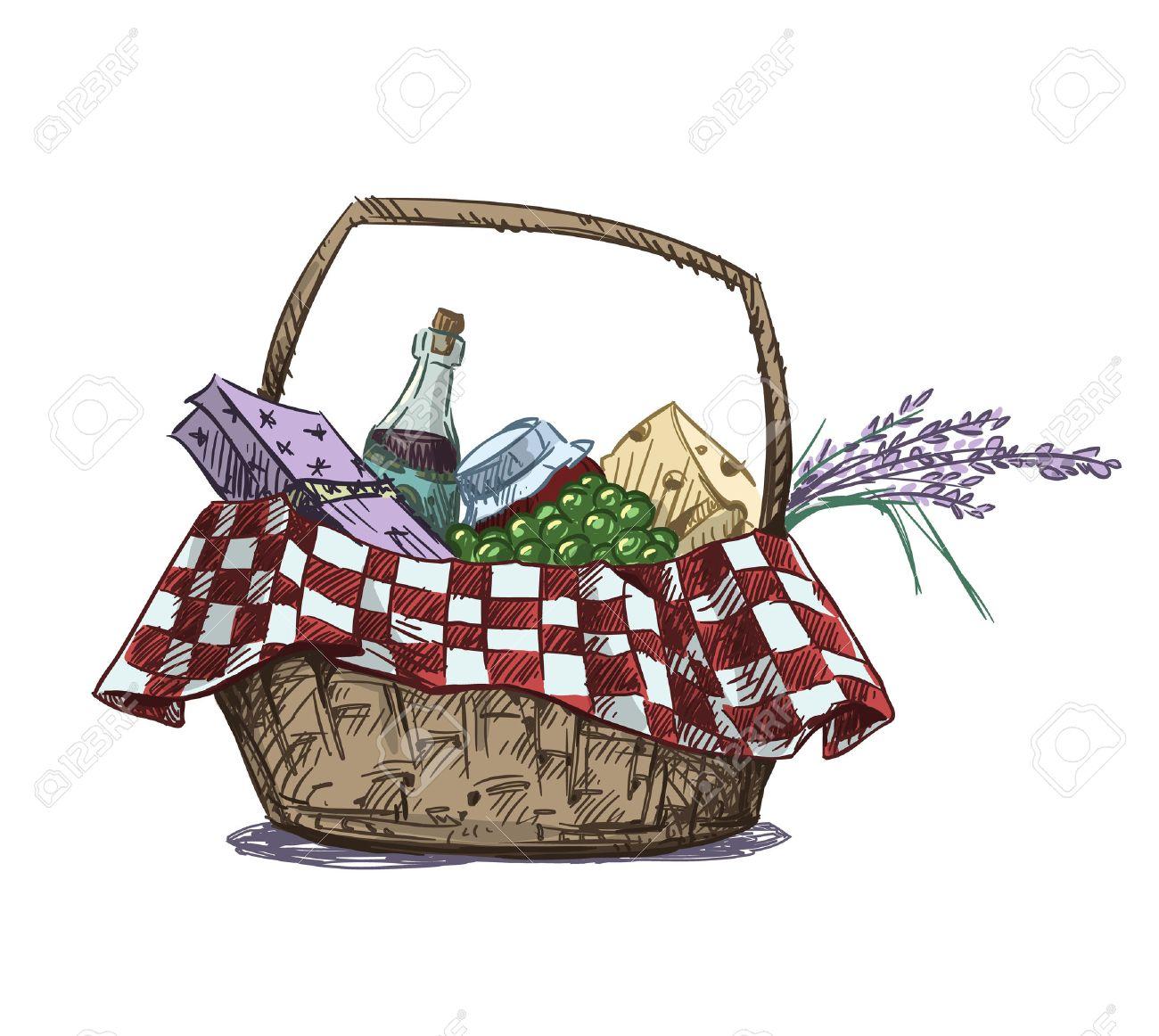 Cesta De Picnic Con Bocadillo. Dibujado A Mano. Ilustración Del ...
