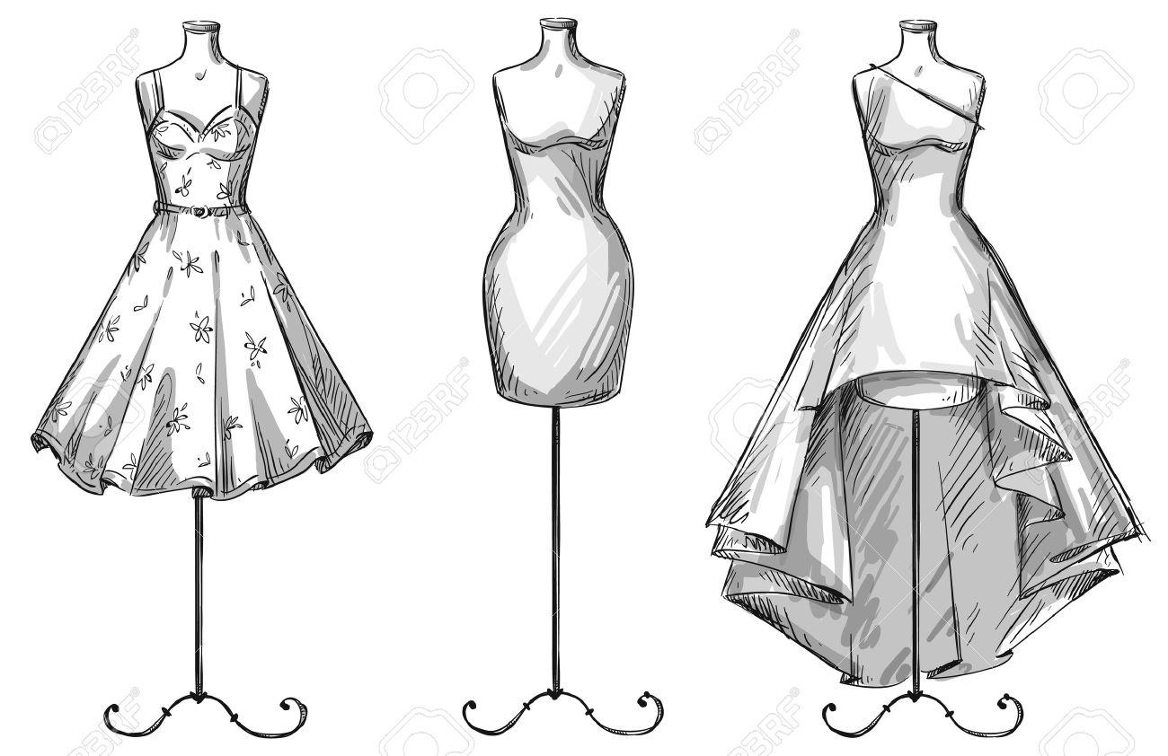 マネキンのセットです人形のドレスファッション イラストのイラスト