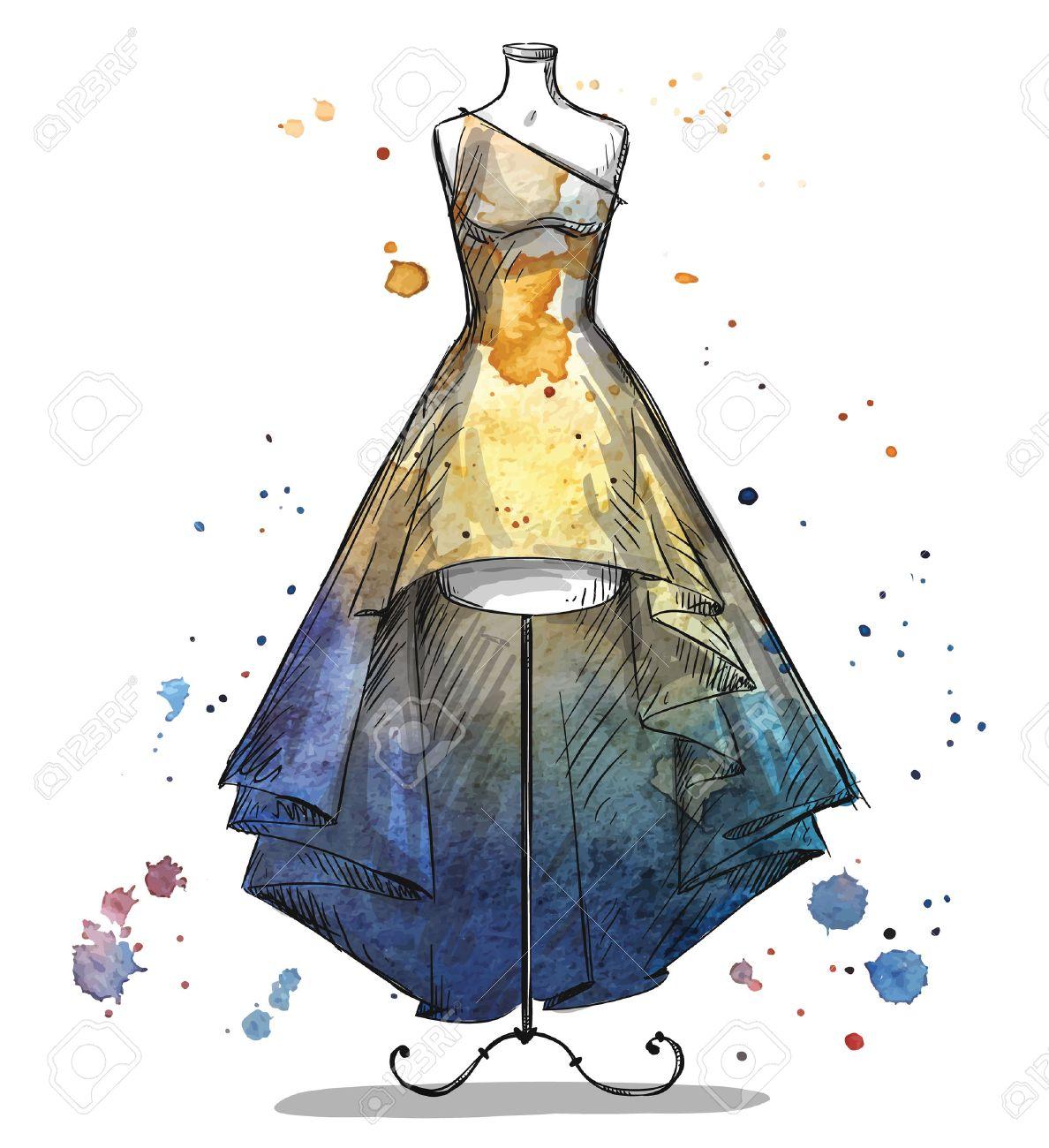 長いドレスのマネキンファッション イラストのイラスト素材ベクタ