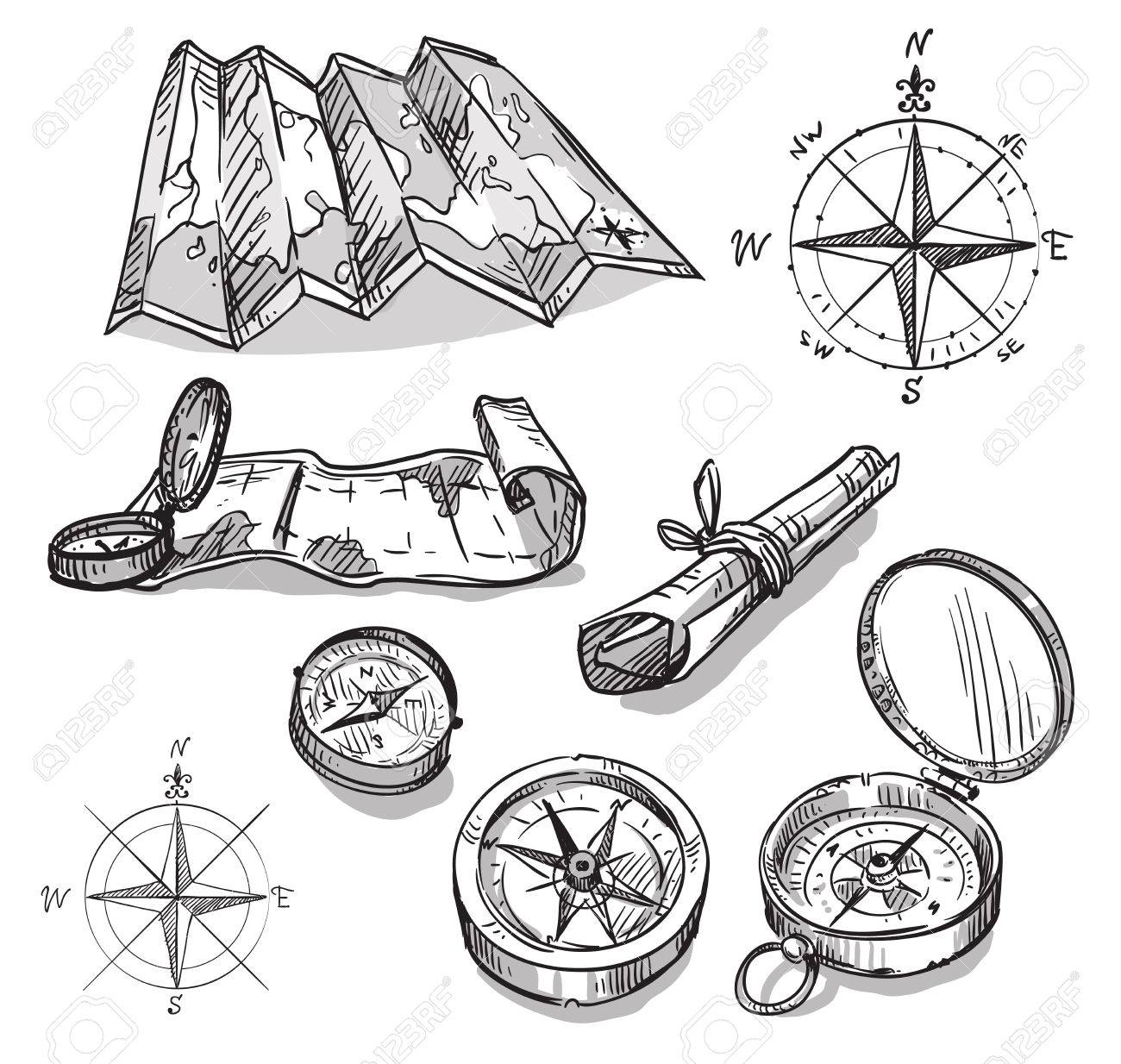 Set Of Hand Drawn Compasses And Maps Royalty Free Cliparts ...