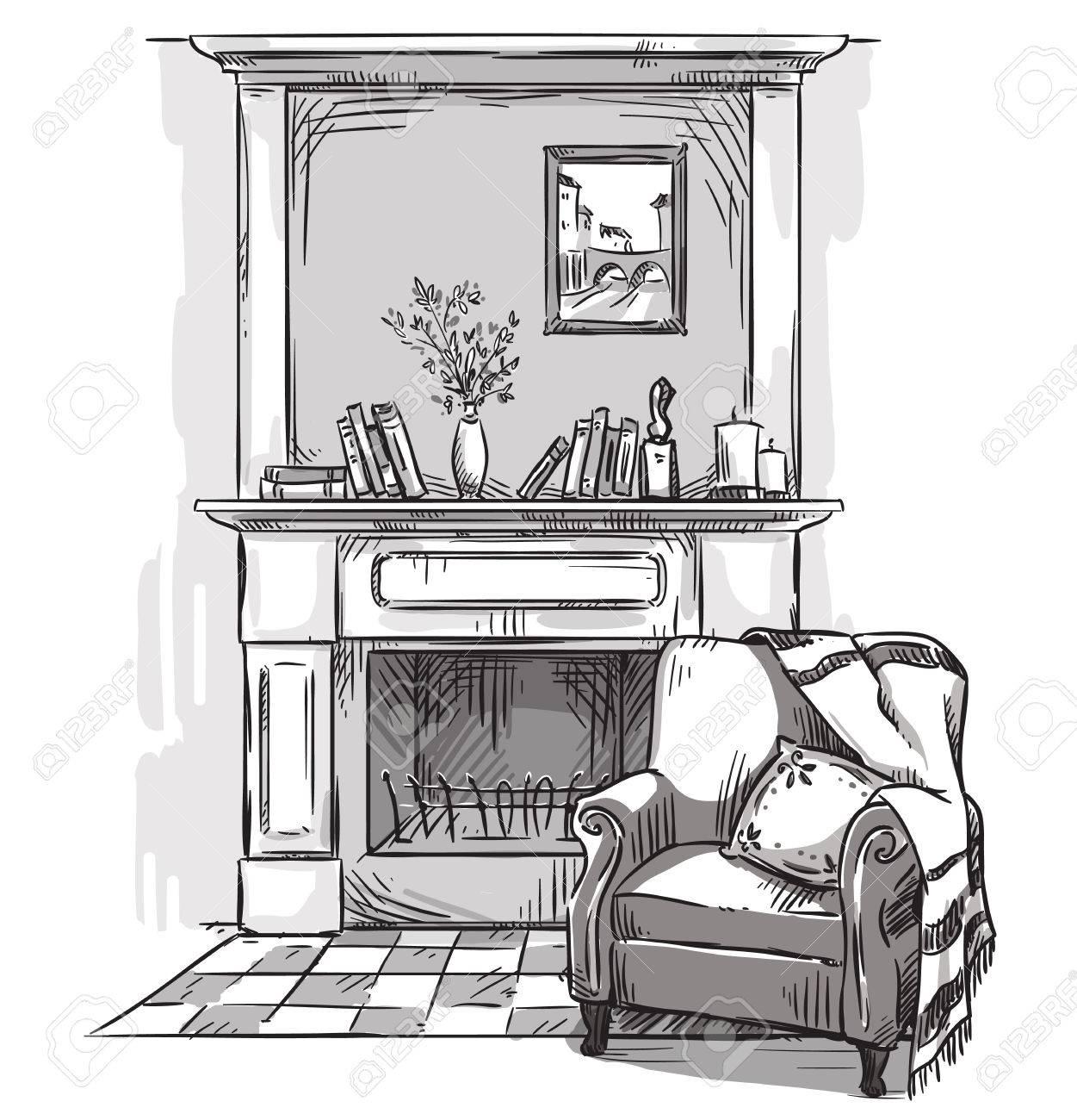 Sessel gezeichnet  Hand Gezeichnet Kamin Und Einen Sessel. Ein Gemütlicher Ort Zu ...