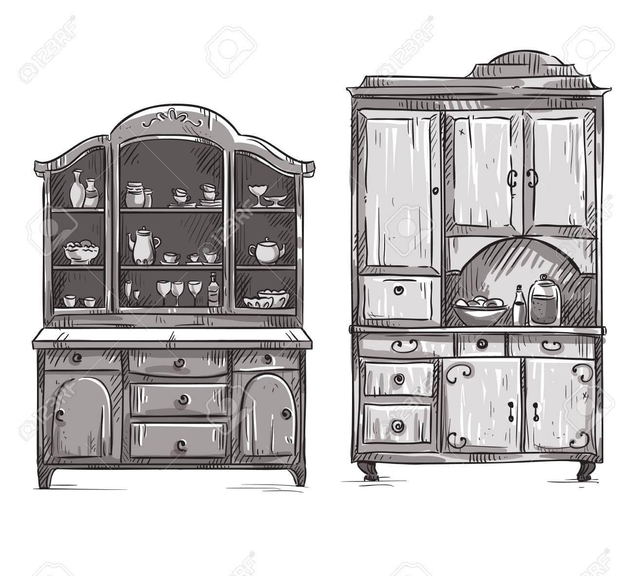Küchenschränke, Von Hand Gezeichnet Lizenzfrei Nutzbare ...