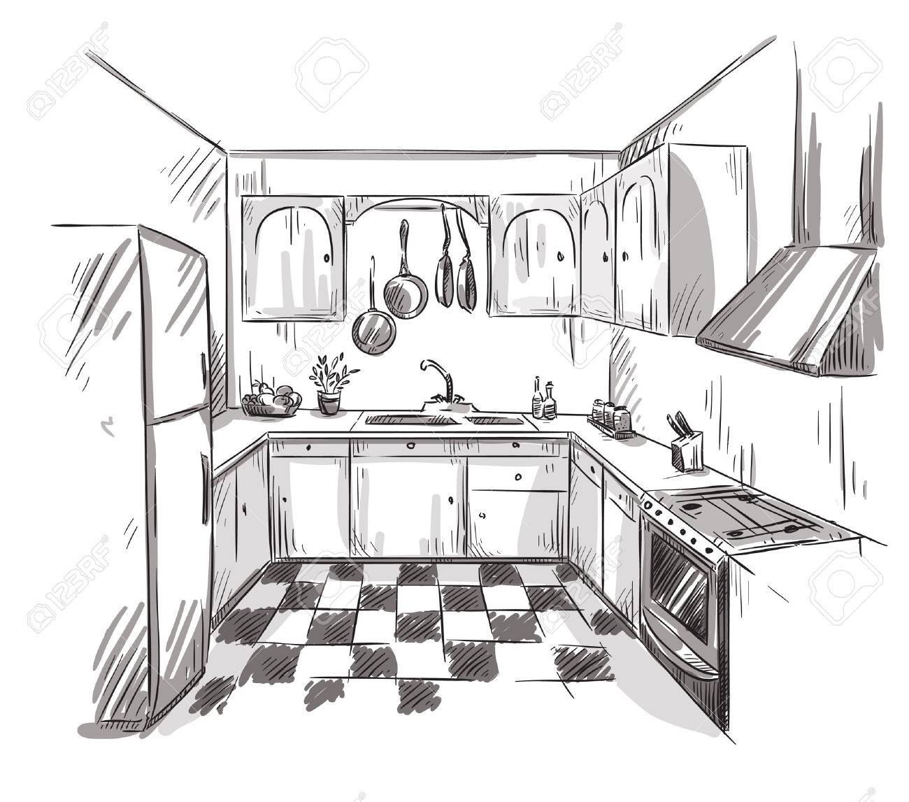 cuisine dessin intrieur illustration vectorielle banque dimages 39232155