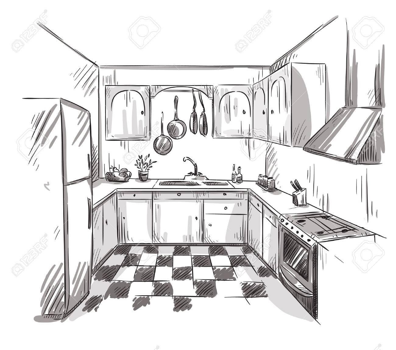 Cuisine Dessin Interieur Illustration Vectorielle Clip Art Libres