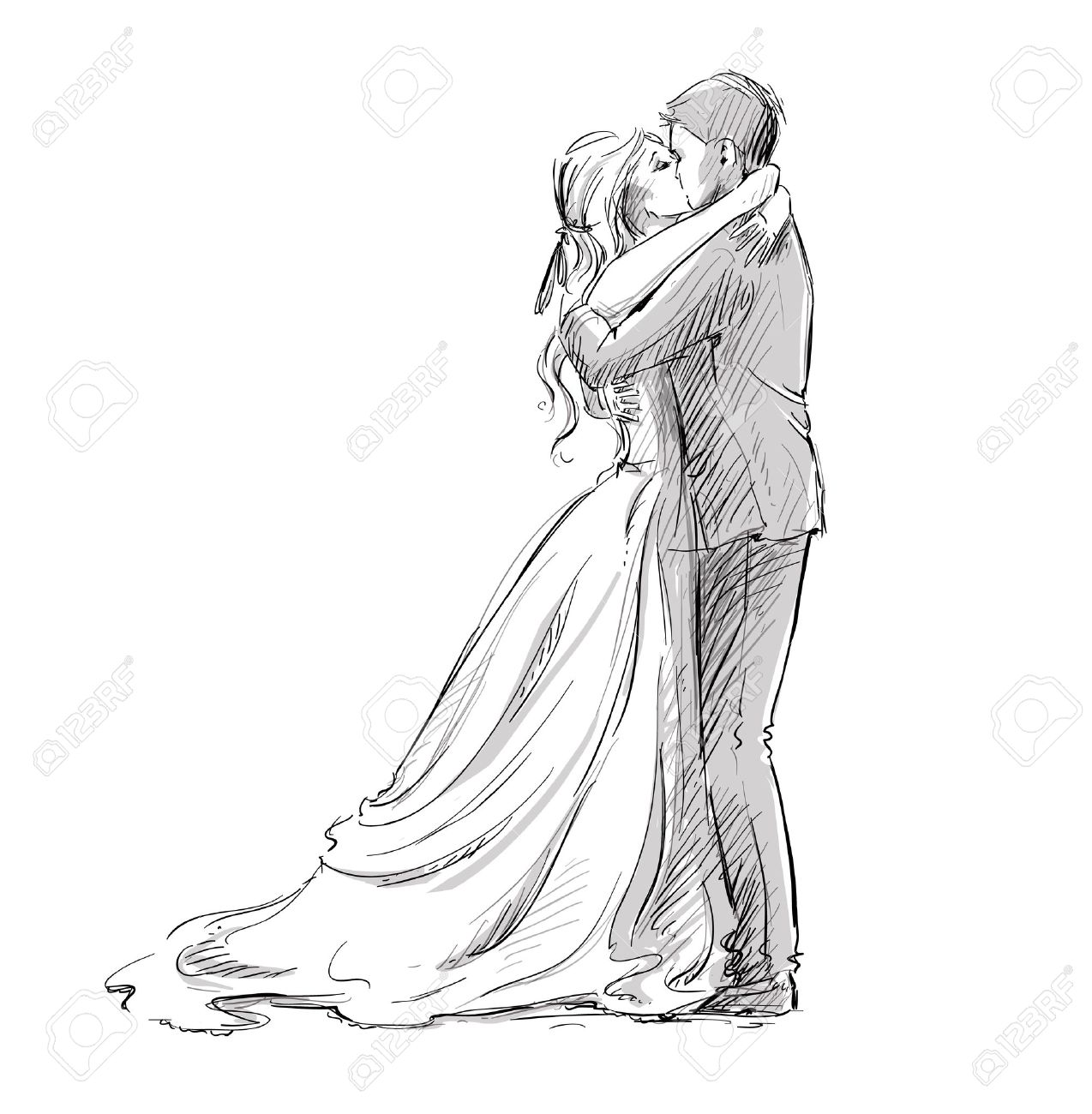 Wedding couple kiss newlywed vector sketch stock vector 42908993