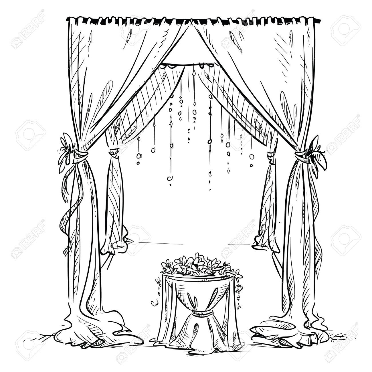 Wedding arch wedding altar decoration vector sketch design wedding altar decoration vector sketch design element stock vector junglespirit Gallery