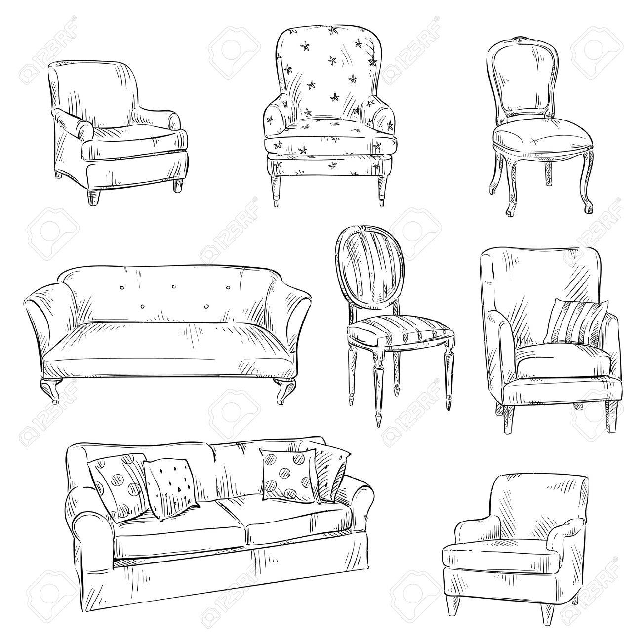 set of hand drawn chairs and sofas, vector illustration - 50057548