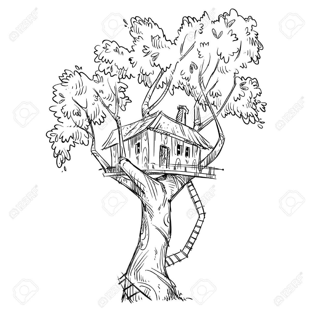 樹上の家手描きのイラストのイラスト素材ベクタ Image 57880408