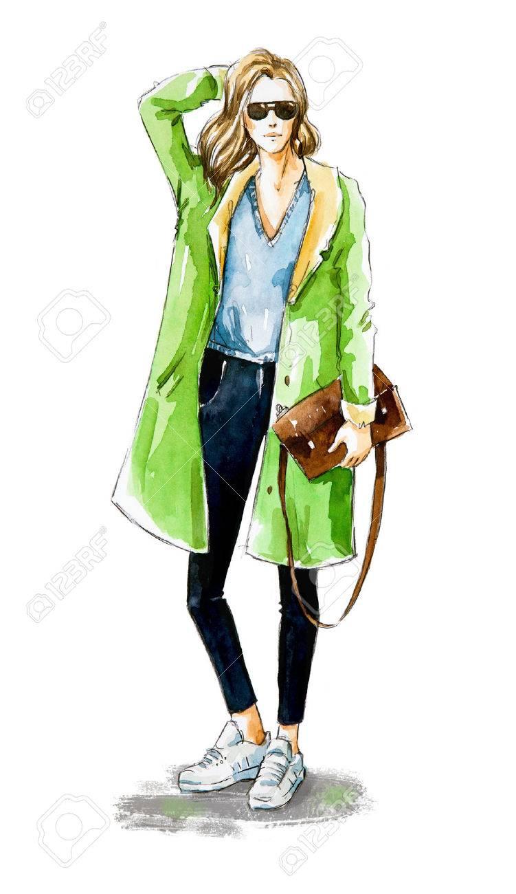 Fashion sketch. Street style. - 68036206