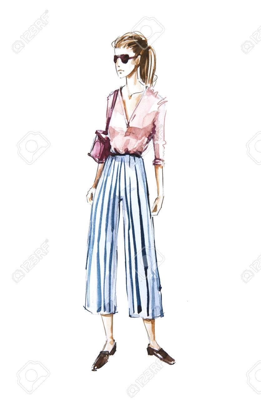 1e51330ff3a12 Watercolor fashion illustration, street style Stock Illustration - 82256934