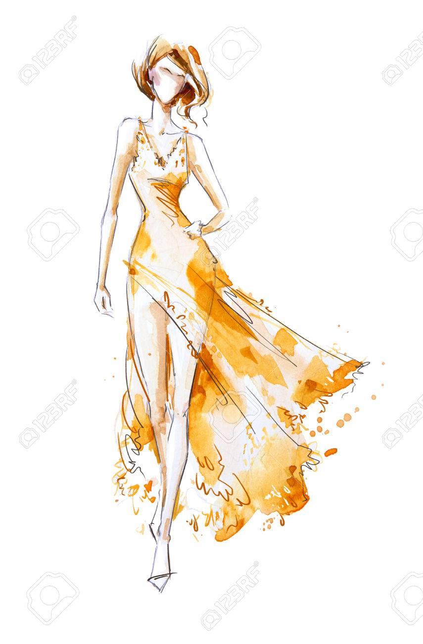写真素材 , 水彩ファッション イラスト、ロング ドレスのモデル キャットウォーク