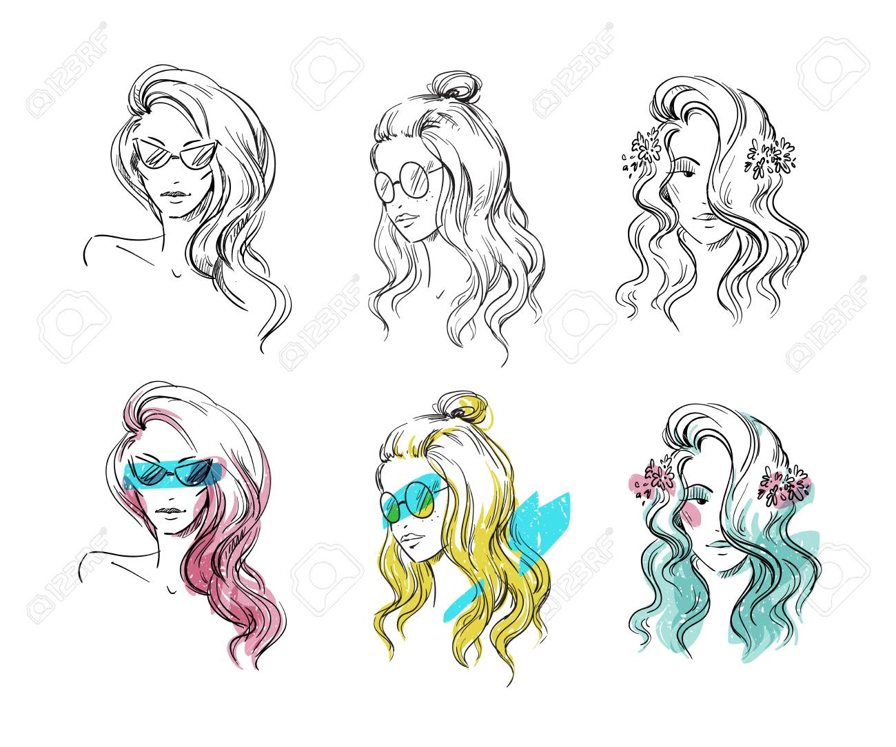 Set of hand drawn hairstyles vector sketch fashion illustration stock vector 104095023