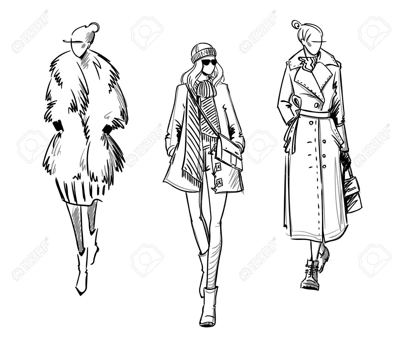 Winter look. Fashion illustration - 115011904