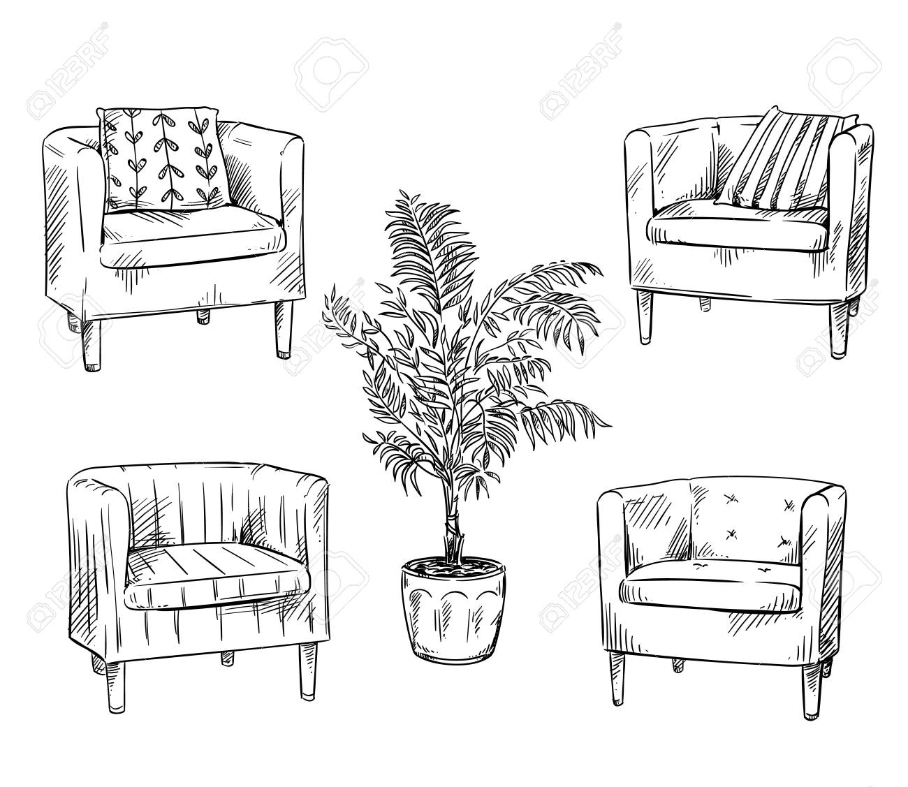 Furniture. Armchairs and flower pot - 115012108
