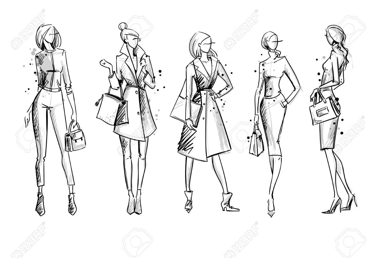 Street look. Fashion illustration, vector sketch - 115922989