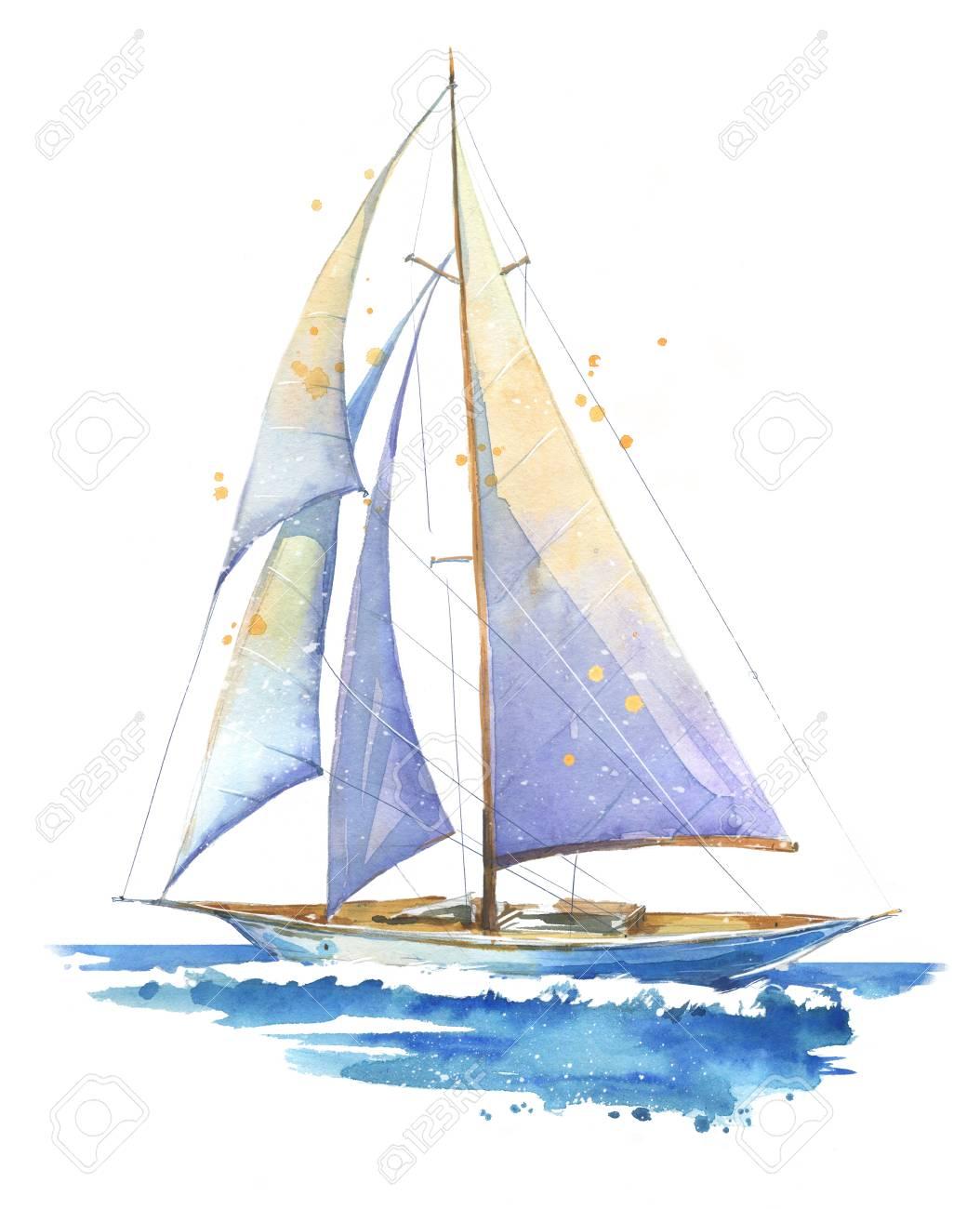 Sailing boat, watercolor painted illustration - 120630464
