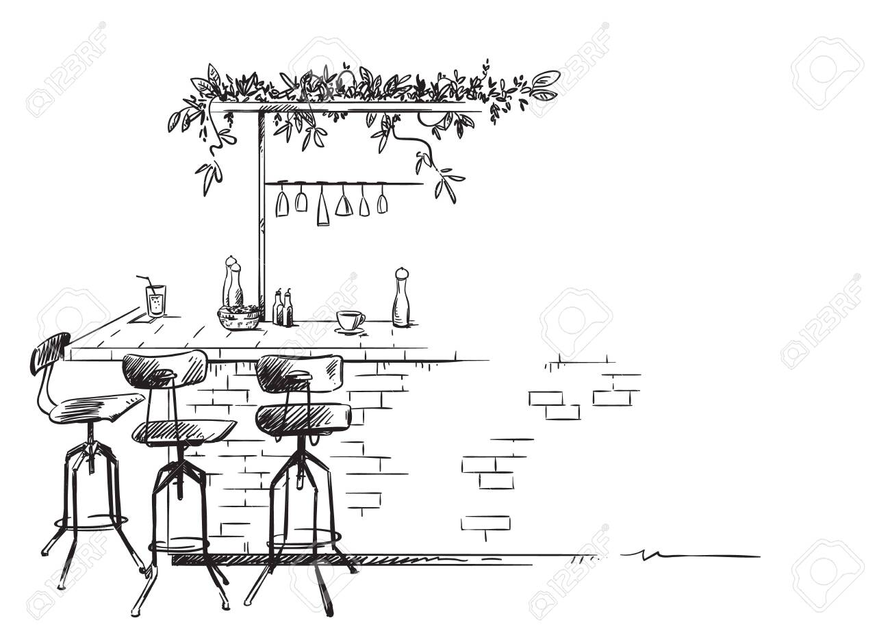 bar interior sketch, bar stand vector drawing, isolated on white - 124417282