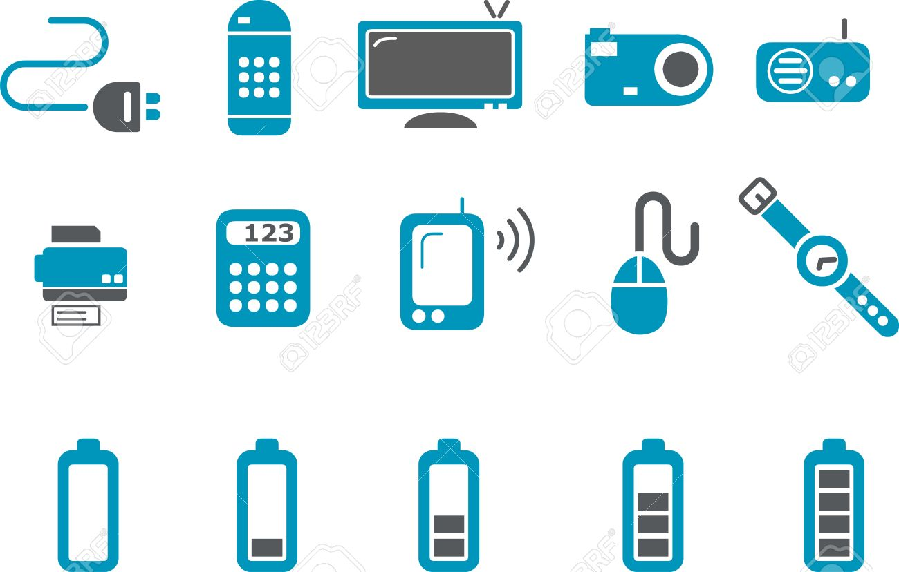 Electronic Icon Set - Vector icons pack - Blue Series Stock Vector - 4474638