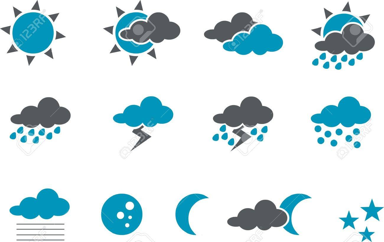 Weather Icon Set - Vector icons pack - Blue Series Stock Vector - 4474639