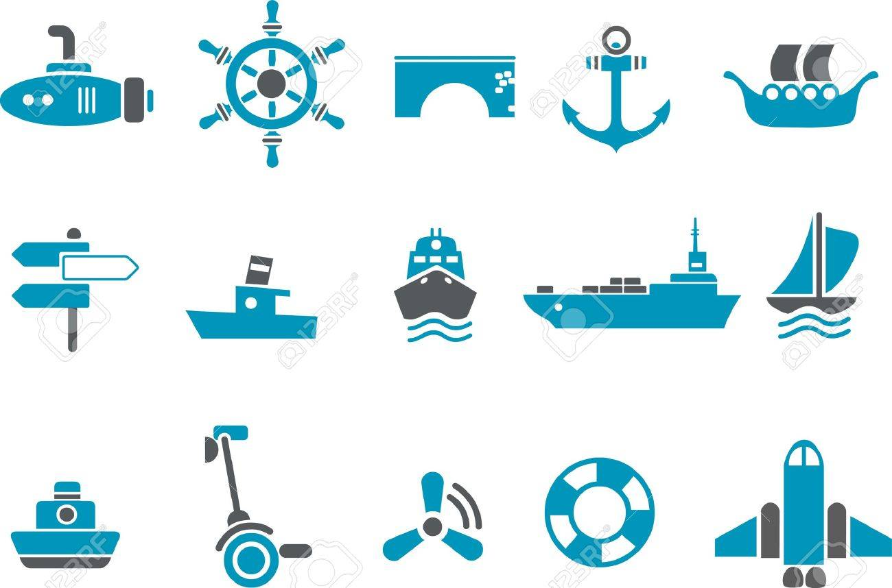 Vector icons pack - Blue Series, transport collection Stock Vector - 4625428